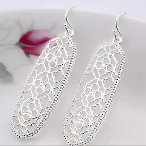 Silver Filigree Scroll Geometric Drop Earrings